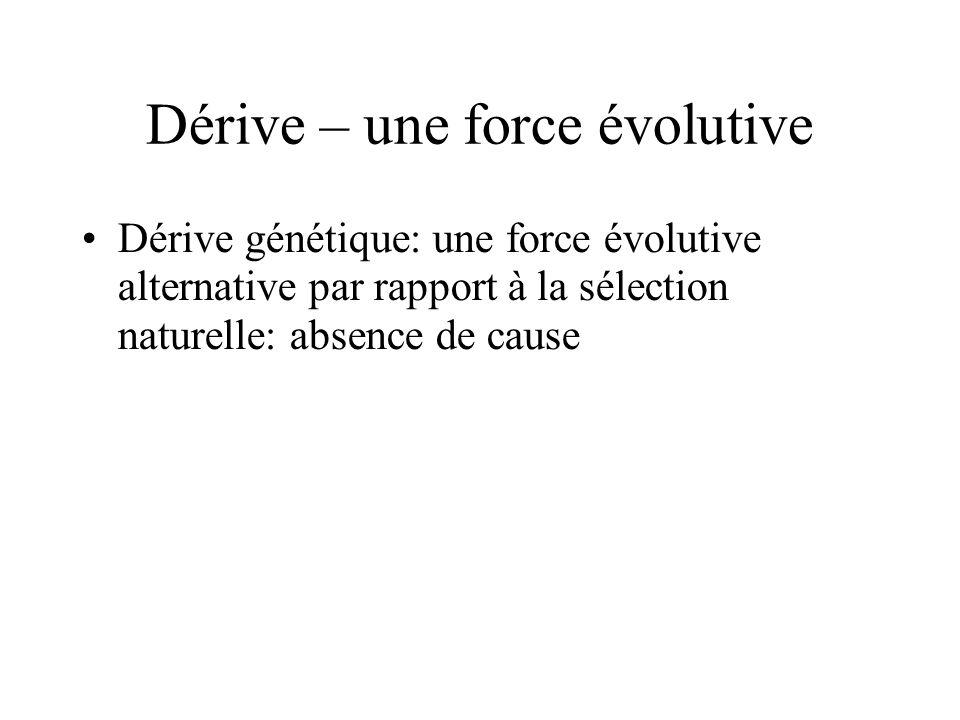 Dérive – une force évolutive Dérive génétique: une force évolutive alternative par rapport à la sélection naturelle: absence de cause