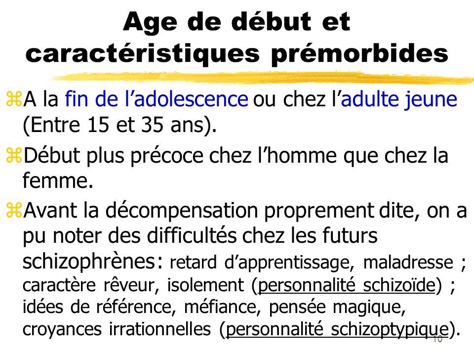 10 Age de début et caractéristiques prémorbides A la fin de ladolescence ou chez ladulte jeune (Entre 15 et 35 ans). Début plus précoce chez lhomme qu