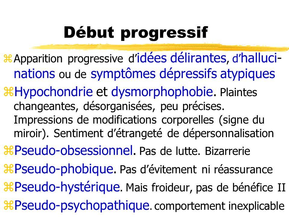 13 Début progressif Apparition progressive d idées délirantes, d halluci- nations ou de symptômes dépressifs atypiques Hypochondrie et dysmorphophobie