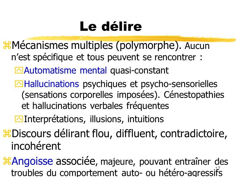 17 Le délire Mécanismes multiples (polymorphe). Aucun nest spécifique et tous peuvent se rencontrer : Automatisme mental quasi-constant Hallucinations