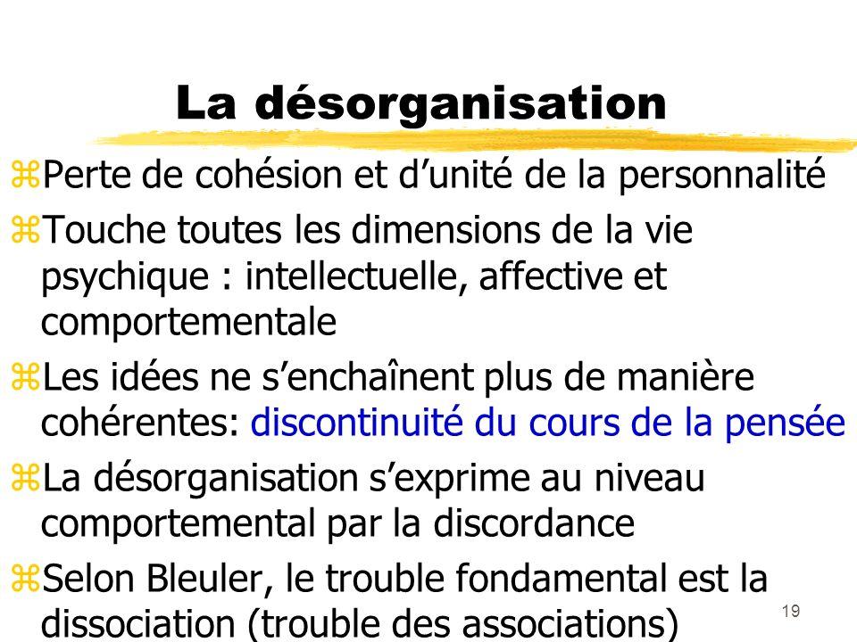 19 La désorganisation Perte de cohésion et dunité de la personnalité Touche toutes les dimensions de la vie psychique : intellectuelle, affective et c