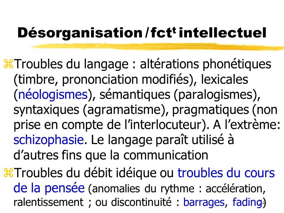 24 Désorganisation / fct t intellectuel Troubles du langage : altérations phonétiques (timbre, prononciation modifiés), lexicales (néologismes), séman