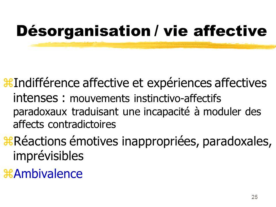 25 Désorganisation / vie affective Indifférence affective et expériences affectives intenses : mouvements instinctivo-affectifs paradoxaux traduisant