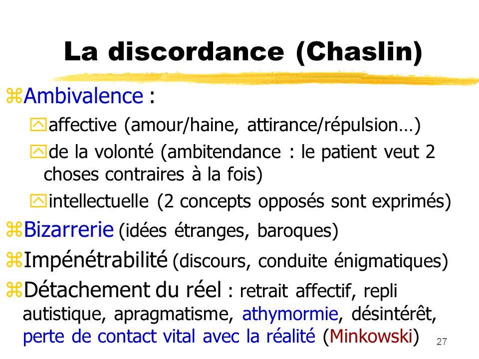 27 La discordance (Chaslin) Ambivalence : affective (amour/haine, attirance/répulsion…) de la volonté (ambitendance : le patient veut 2 choses contrai