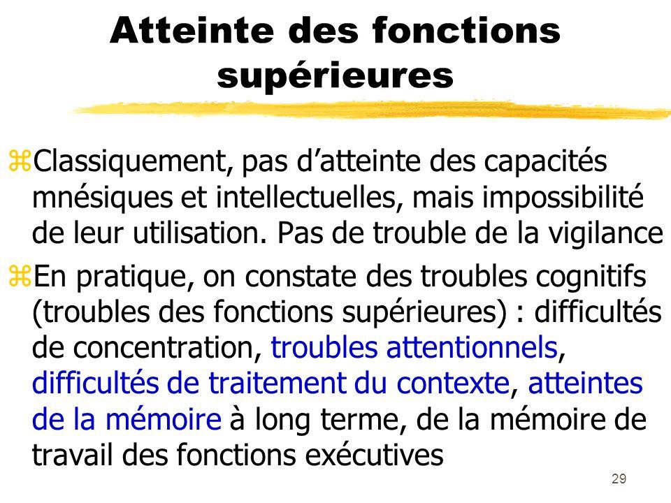 29 Atteinte des fonctions supérieures Classiquement, pas datteinte des capacités mnésiques et intellectuelles, mais impossibilité de leur utilisation.