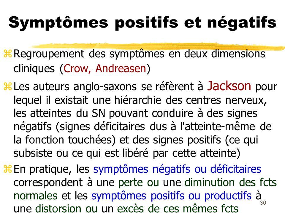 30 Symptômes positifs et négatifs Regroupement des symptômes en deux dimensions cliniques (Crow, Andreasen) Les auteurs anglo-saxons se réfèrent à Jac