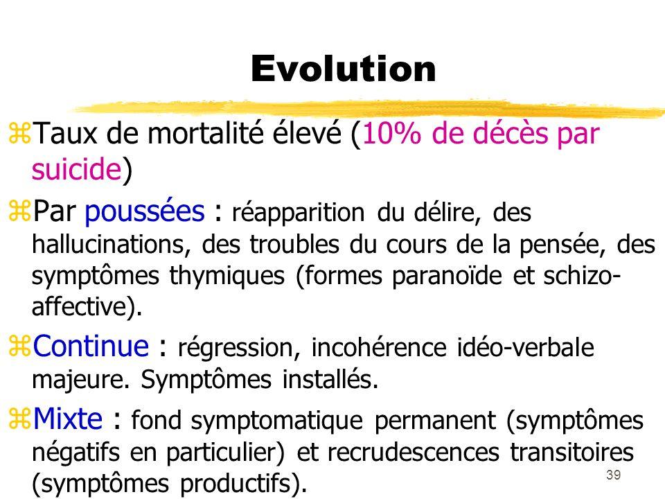 39 Evolution Taux de mortalité élevé (10% de décès par suicide) Par poussées : réapparition du délire, des hallucinations, des troubles du cours de la