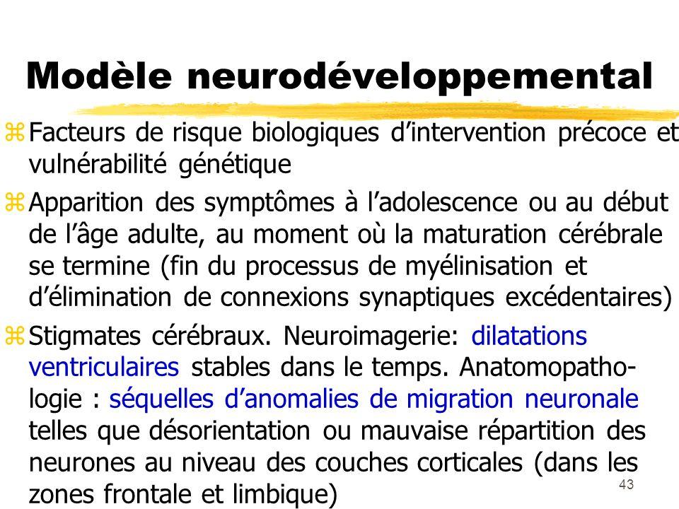 43 Modèle neurodéveloppemental Facteurs de risque biologiques dintervention précoce et vulnérabilité génétique Apparition des symptômes à ladolescence