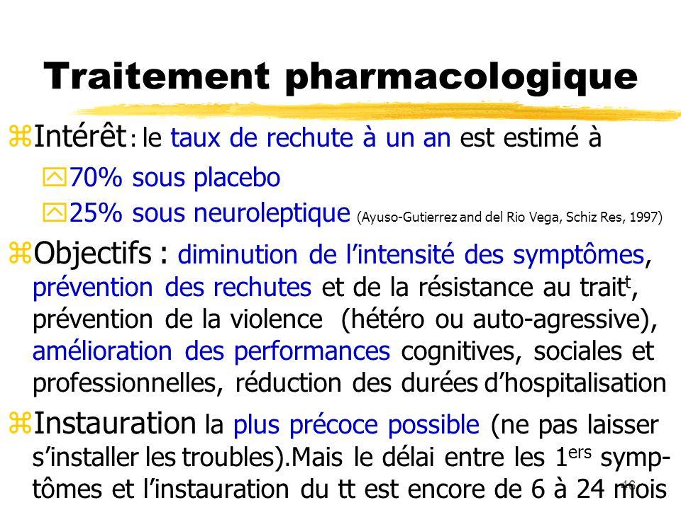 46 Traitement pharmacologique Intérêt : le taux de rechute à un an est estimé à 70% sous placebo 25% sous neuroleptique (Ayuso-Gutierrez and del Rio V