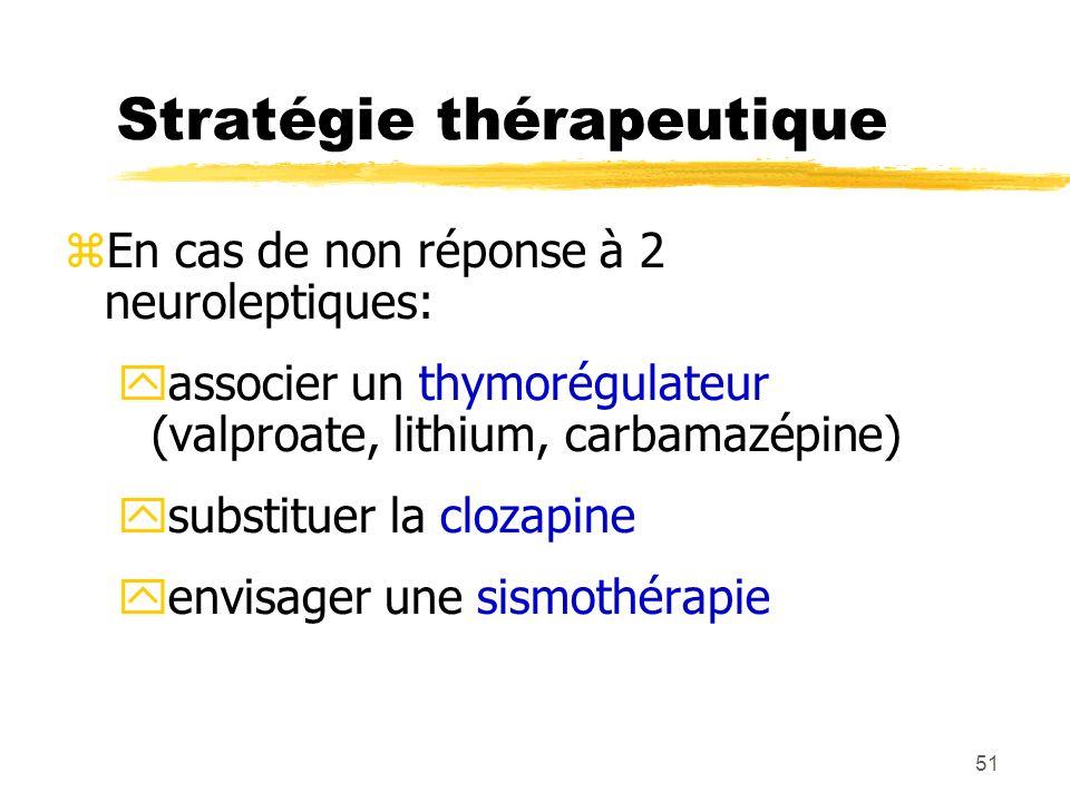 51 Stratégie thérapeutique En cas de non réponse à 2 neuroleptiques: associer un thymorégulateur (valproate, lithium, carbamazépine) substituer la clo