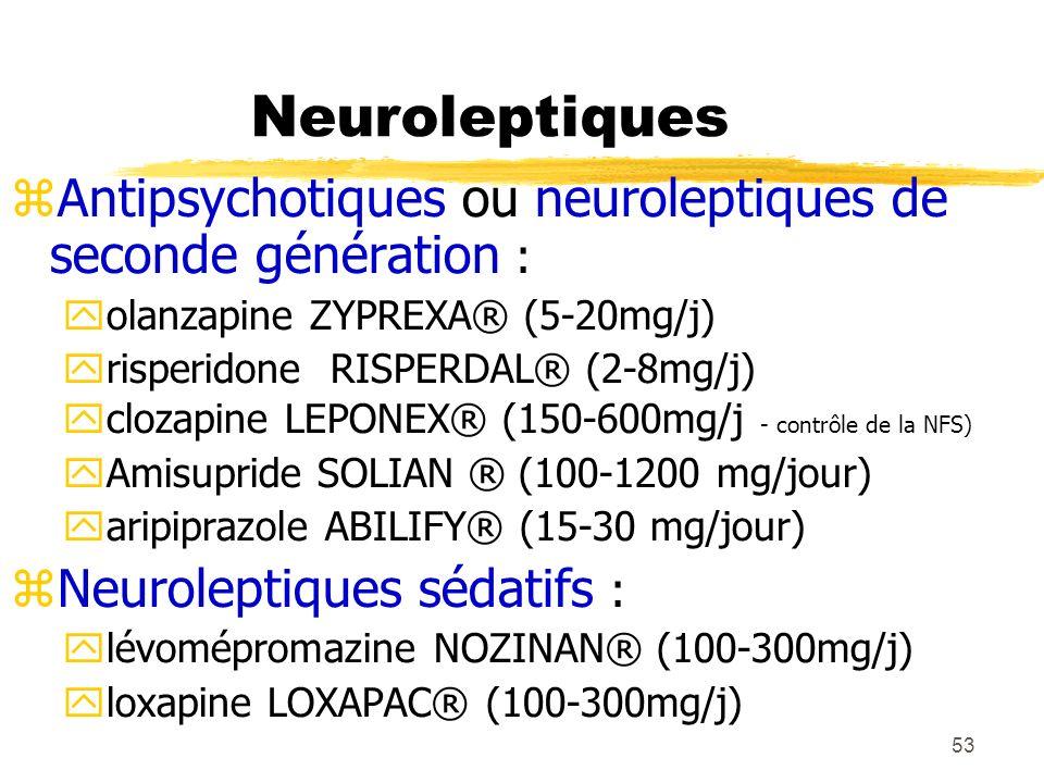 53 Neuroleptiques Antipsychotiques ou neuroleptiques de seconde génération : olanzapine ZYPREXA® (5-20mg/j) risperidone RISPERDAL® (2-8mg/j) clozapine
