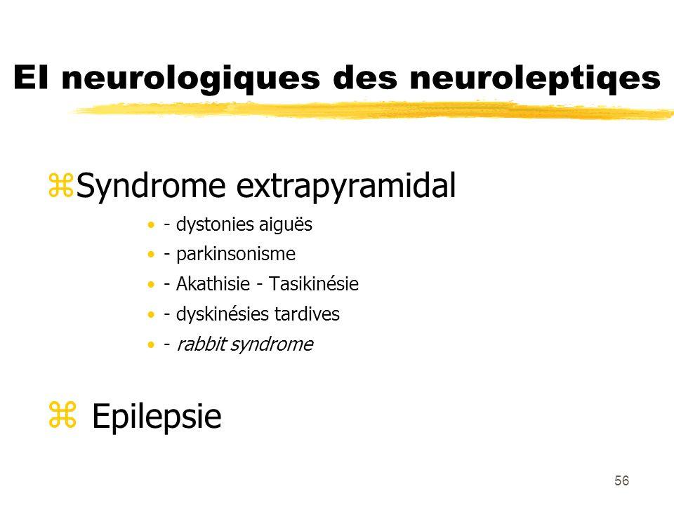 56 EI neurologiques des neuroleptiqes Syndrome extrapyramidal - dystonies aiguës - parkinsonisme - Akathisie - Tasikinésie - dyskinésies tardives - ra