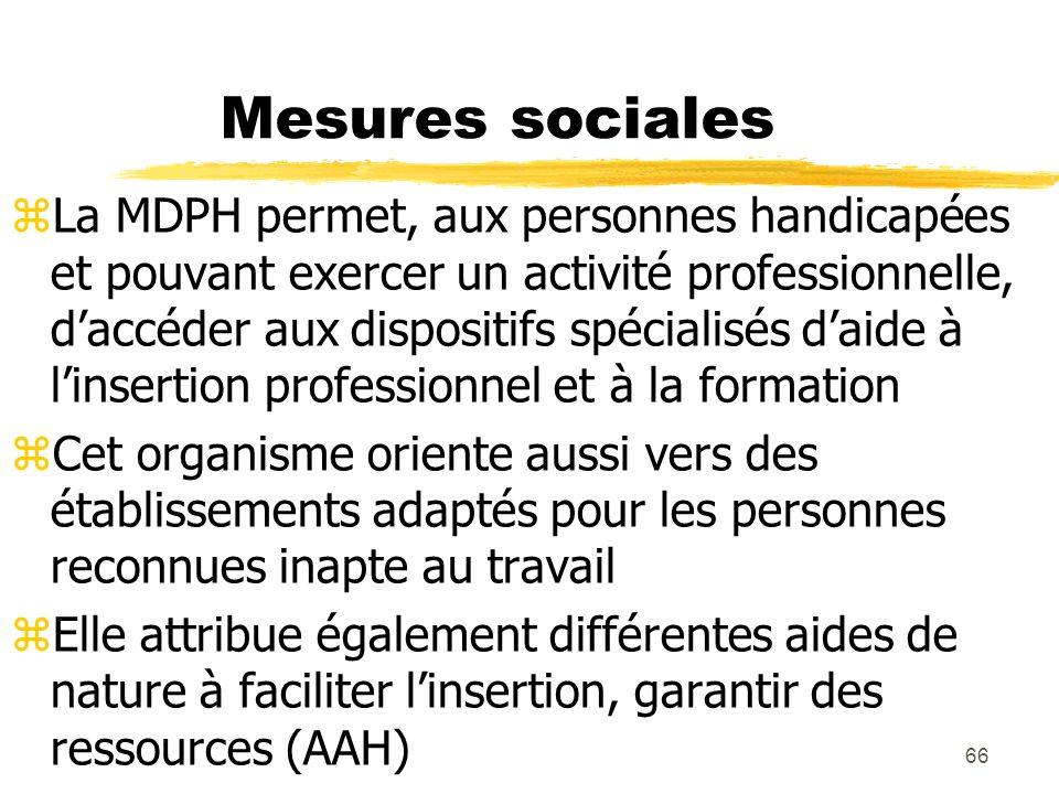 66 Mesures sociales La MDPH permet, aux personnes handicapées et pouvant exercer un activité professionnelle, daccéder aux dispositifs spécialisés dai