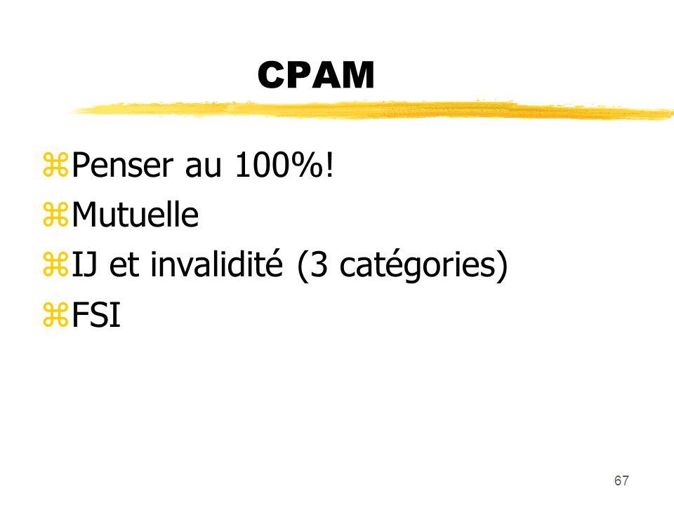 67 CPAM Penser au 100%! Mutuelle IJ et invalidité (3 catégories) FSI