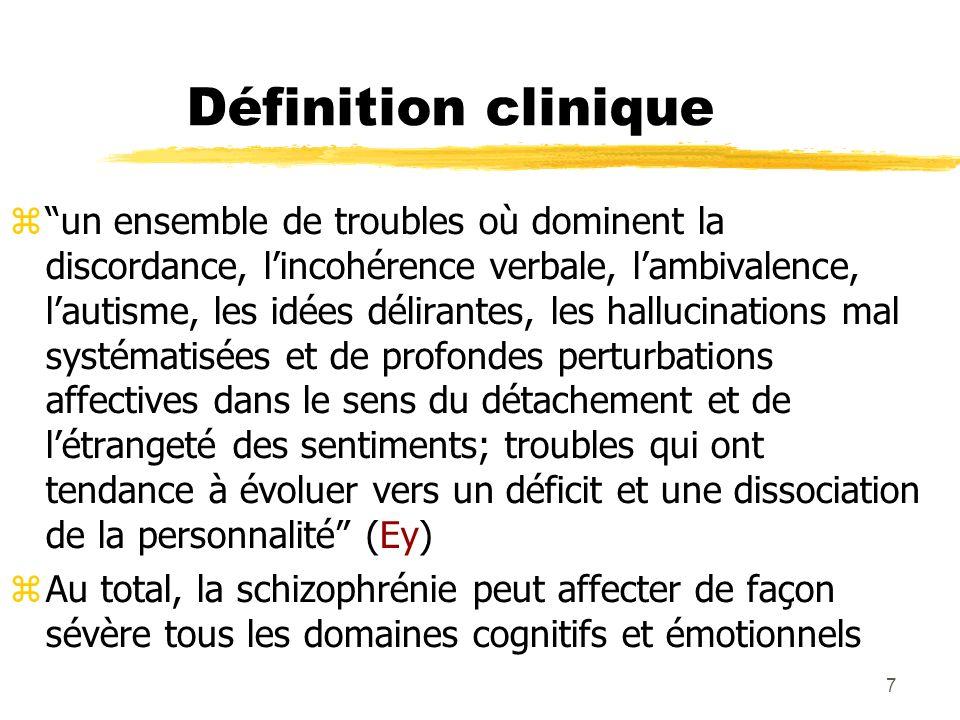 7 Définition clinique un ensemble de troubles où dominent la discordance, lincohérence verbale, lambivalence, lautisme, les idées délirantes, les hall
