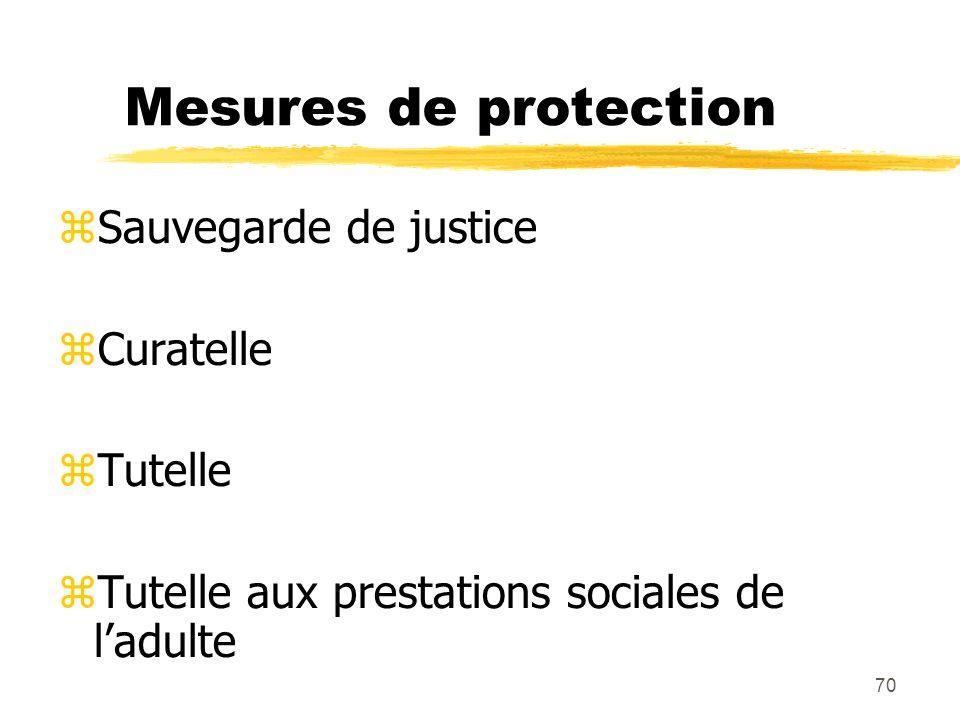 70 Mesures de protection Sauvegarde de justice Curatelle Tutelle Tutelle aux prestations sociales de ladulte