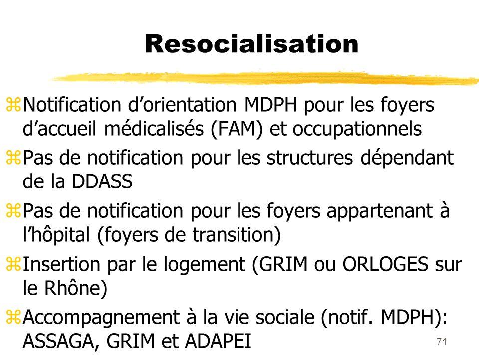 71 Resocialisation Notification dorientation MDPH pour les foyers daccueil médicalisés (FAM) et occupationnels Pas de notification pour les structures