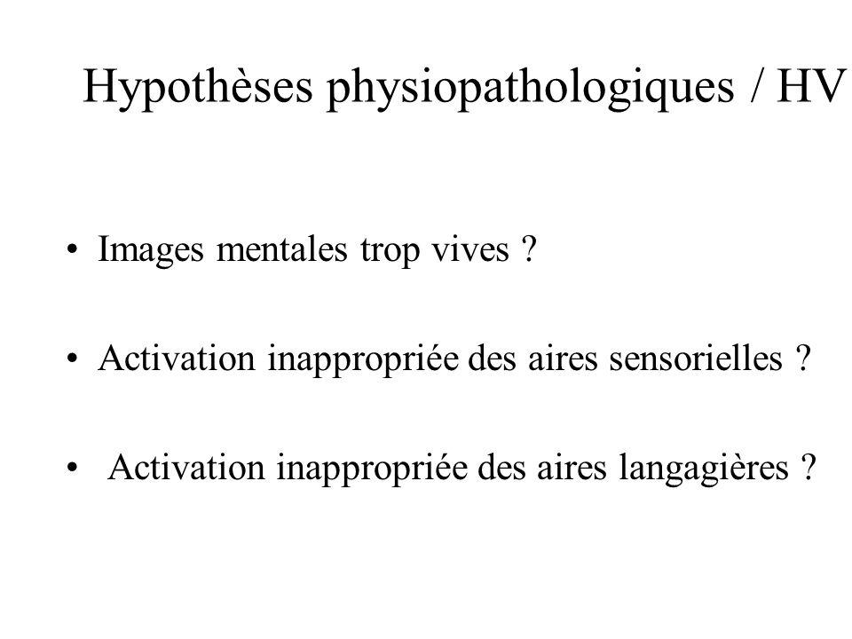 Hypothèses physiopathologiques / HV Images mentales trop vives ? Activation inappropriée des aires sensorielles ? Activation inappropriée des aires la