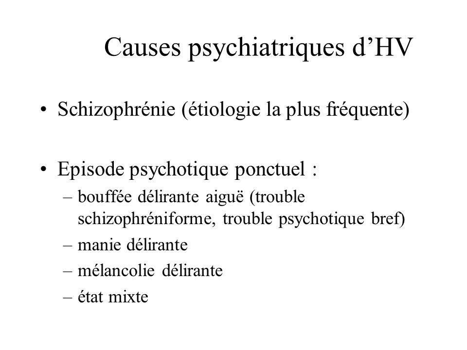 Causes psychiatriques dHV Schizophrénie (étiologie la plus fréquente) Episode psychotique ponctuel : –bouffée délirante aiguë (trouble schizophréniforme, trouble psychotique bref) –manie délirante –mélancolie délirante –état mixte