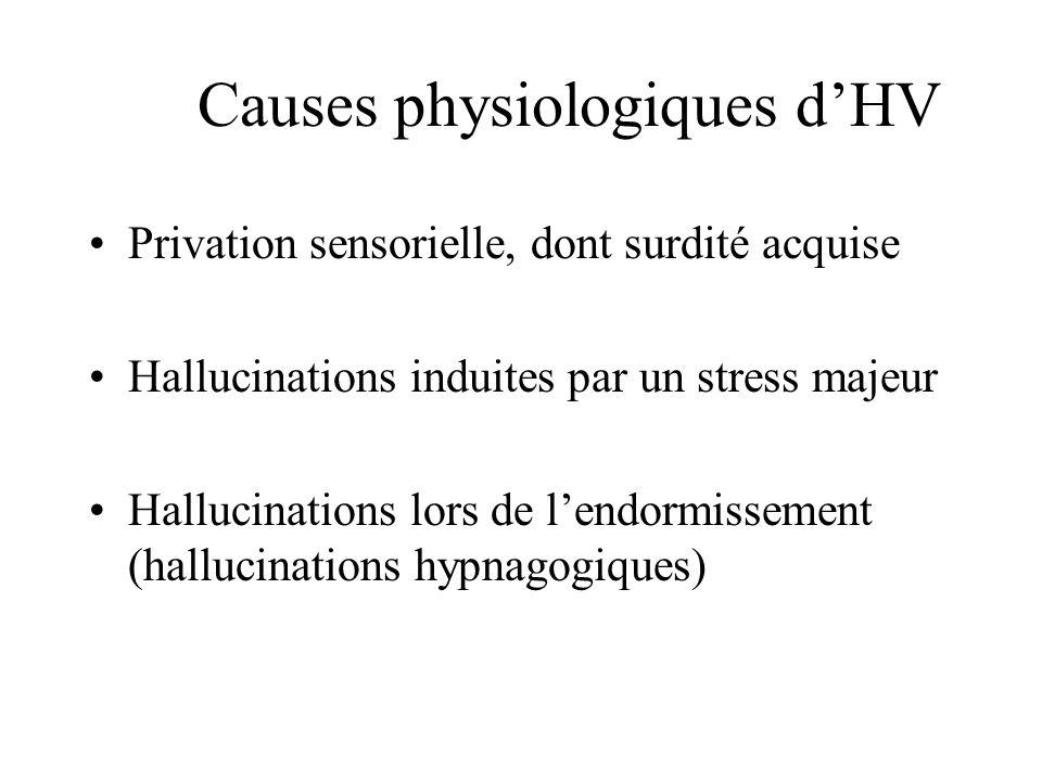 Causes physiologiques dHV Privation sensorielle, dont surdité acquise Hallucinations induites par un stress majeur Hallucinations lors de lendormissem