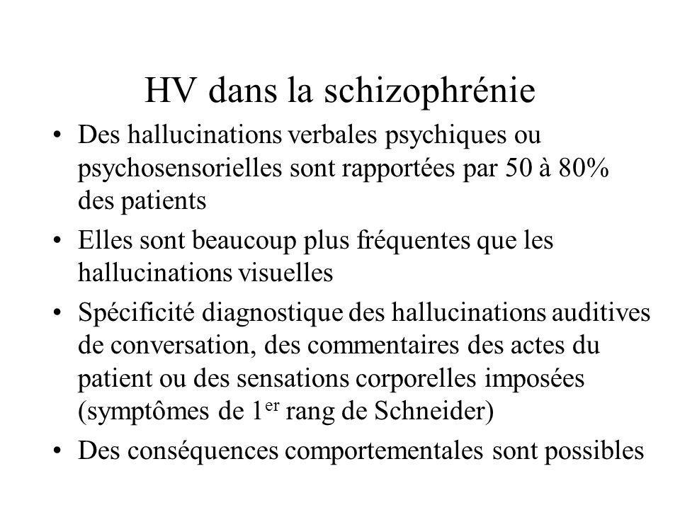 HV dans la schizophrénie Des hallucinations verbales psychiques ou psychosensorielles sont rapportées par 50 à 80% des patients Elles sont beaucoup plus fréquentes que les hallucinations visuelles Spécificité diagnostique des hallucinations auditives de conversation, des commentaires des actes du patient ou des sensations corporelles imposées (symptômes de 1 er rang de Schneider) Des conséquences comportementales sont possibles