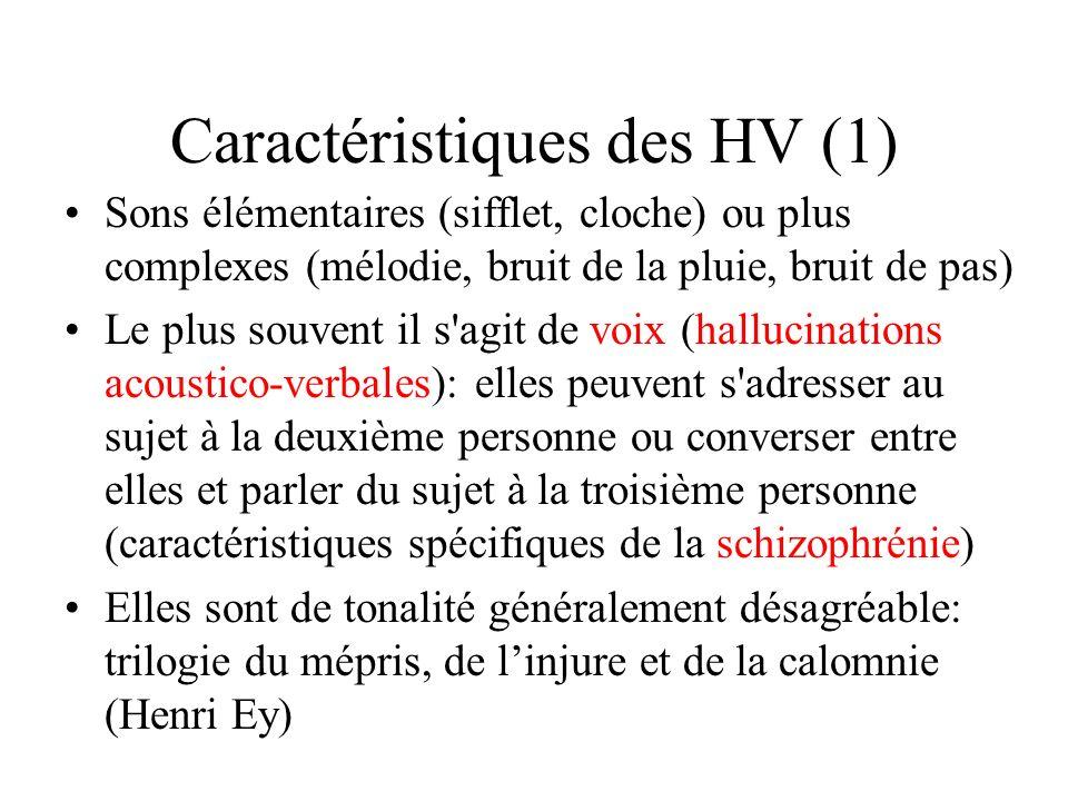 Caractéristiques des HV (1) Sons élémentaires (sifflet, cloche) ou plus complexes (mélodie, bruit de la pluie, bruit de pas) Le plus souvent il s'agit