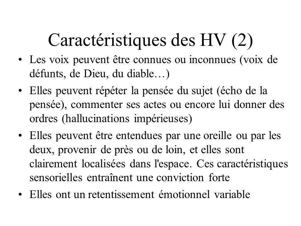 Caractéristiques des HV (2) Les voix peuvent être connues ou inconnues (voix de défunts, de Dieu, du diable…) Elles peuvent répéter la pensée du sujet