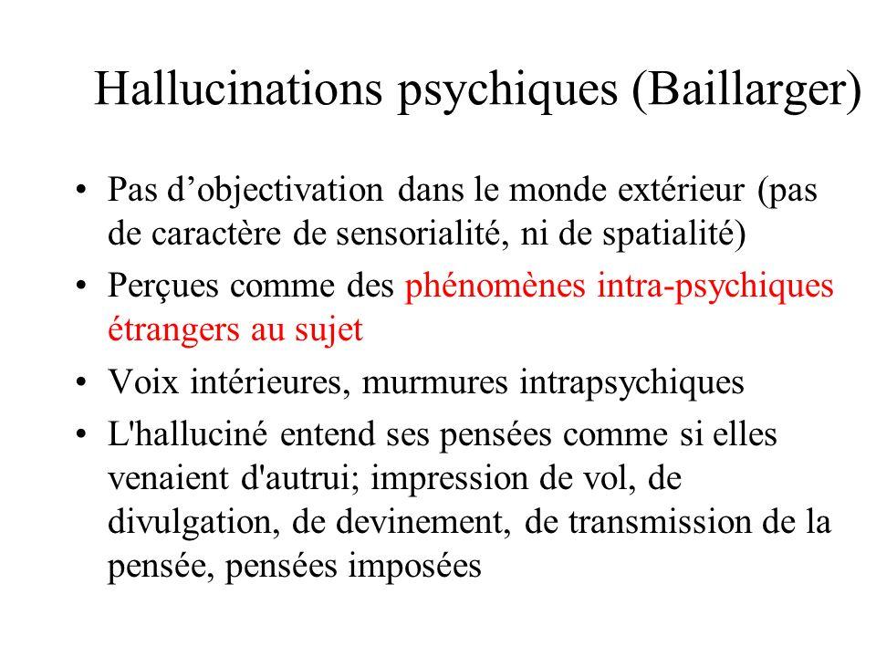 Hallucinations psychiques (Baillarger) Pas dobjectivation dans le monde extérieur (pas de caractère de sensorialité, ni de spatialité) Perçues comme des phénomènes intra-psychiques étrangers au sujet Voix intérieures, murmures intrapsychiques L halluciné entend ses pensées comme si elles venaient d autrui; impression de vol, de divulgation, de devinement, de transmission de la pensée, pensées imposées
