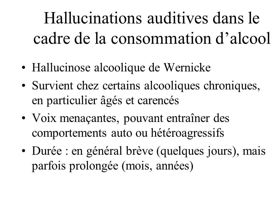 Hallucinations auditives dans le cadre de la consommation dalcool Hallucinose alcoolique de Wernicke Survient chez certains alcooliques chroniques, en