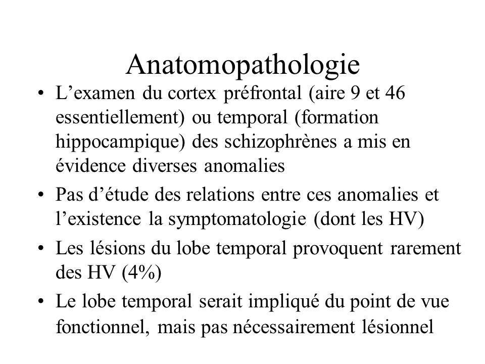 Anatomopathologie Lexamen du cortex préfrontal (aire 9 et 46 essentiellement) ou temporal (formation hippocampique) des schizophrènes a mis en évidenc
