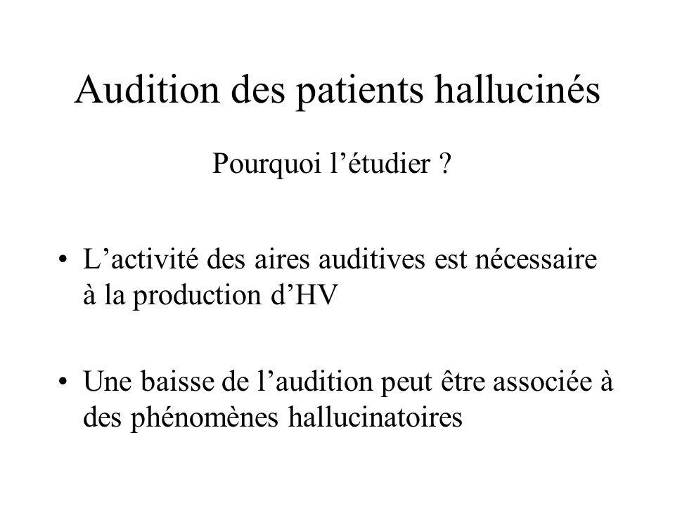 Audition des patients hallucinés Lactivité des aires auditives est nécessaire à la production dHV Une baisse de laudition peut être associée à des phénomènes hallucinatoires Pourquoi létudier ?