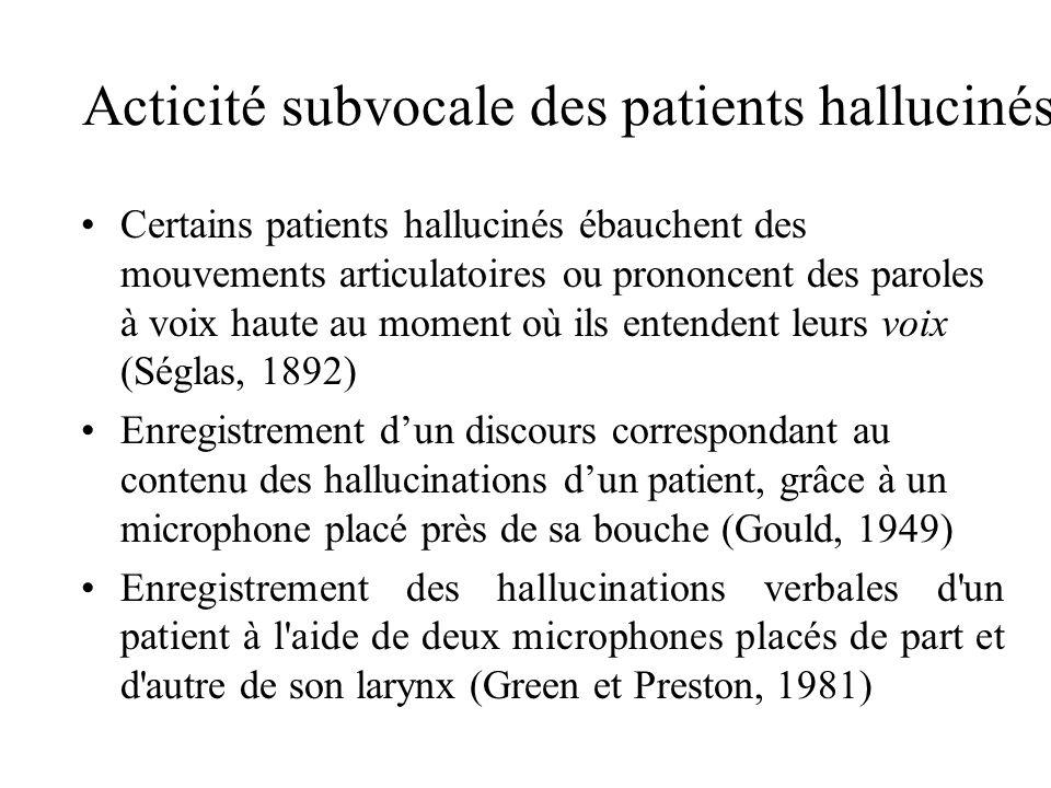 Acticité subvocale des patients hallucinés Certains patients hallucinés ébauchent des mouvements articulatoires ou prononcent des paroles à voix haute