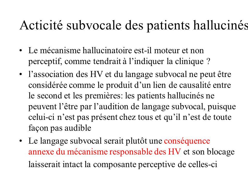 Acticité subvocale des patients hallucinés Le mécanisme hallucinatoire est-il moteur et non perceptif, comme tendrait à lindiquer la clinique ? lassoc