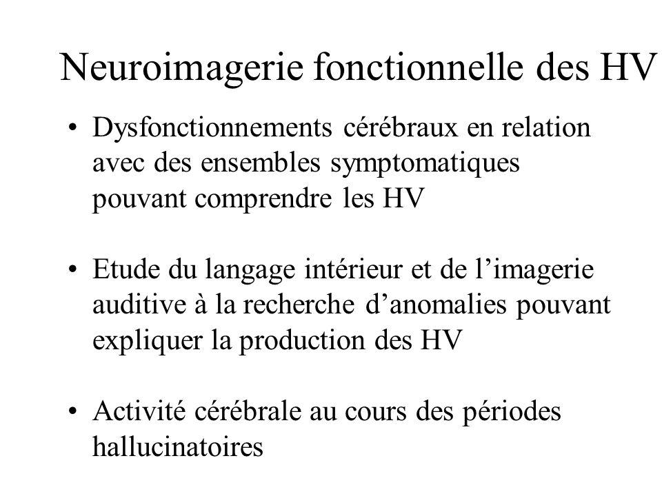 Neuroimagerie fonctionnelle des HV Dysfonctionnements cérébraux en relation avec des ensembles symptomatiques pouvant comprendre les HV Etude du langa