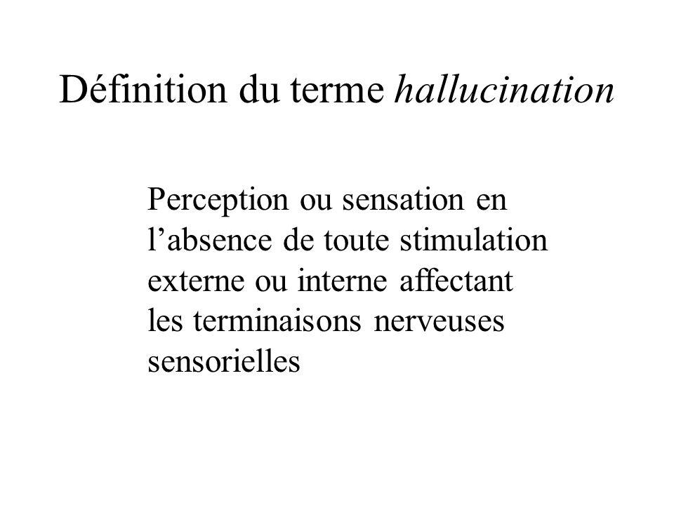 Définition du terme hallucination Perception ou sensation en labsence de toute stimulation externe ou interne affectant les terminaisons nerveuses sensorielles