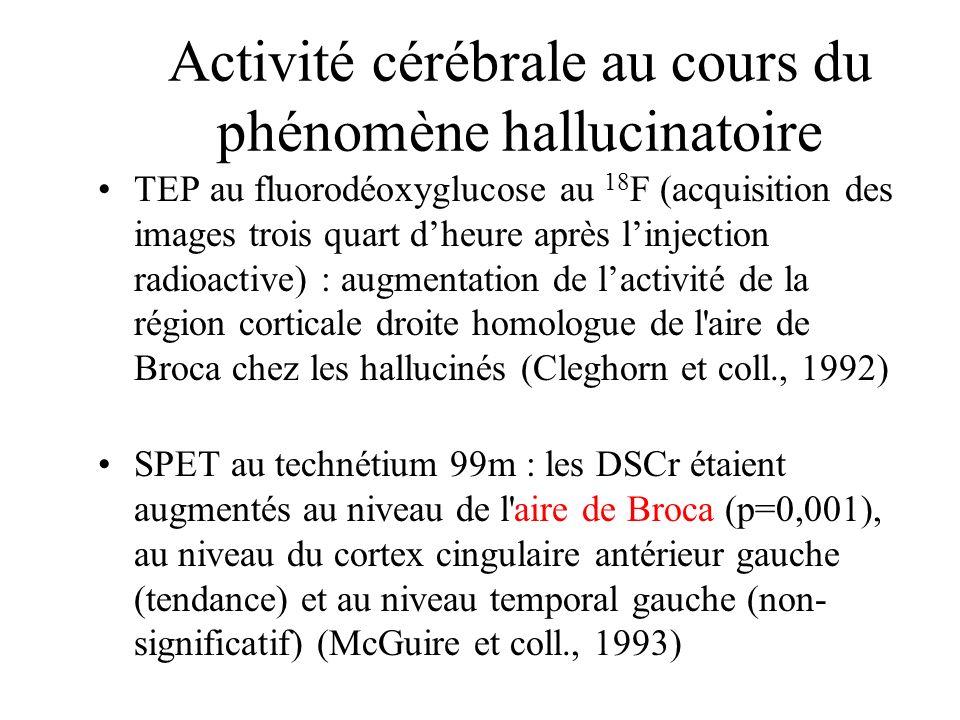 Activité cérébrale au cours du phénomène hallucinatoire TEP au fluorodéoxyglucose au 18 F (acquisition des images trois quart dheure après linjection