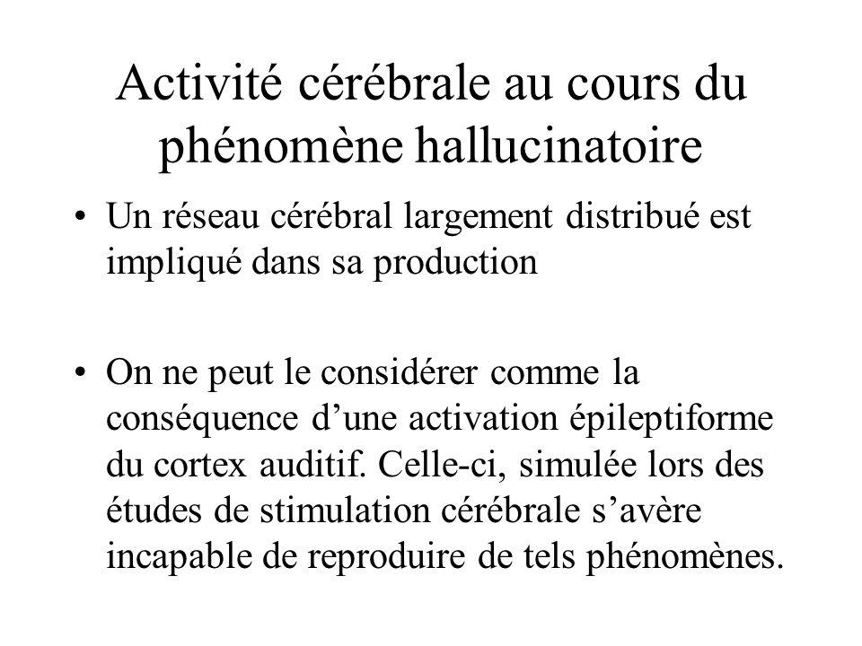 Activité cérébrale au cours du phénomène hallucinatoire Un réseau cérébral largement distribué est impliqué dans sa production On ne peut le considérer comme la conséquence dune activation épileptiforme du cortex auditif.