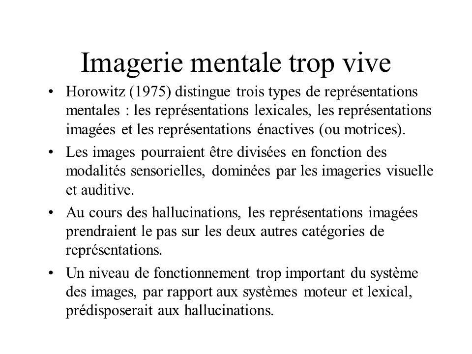 Imagerie mentale trop vive Horowitz (1975) distingue trois types de représentations mentales : les représentations lexicales, les représentations imagées et les représentations énactives (ou motrices).