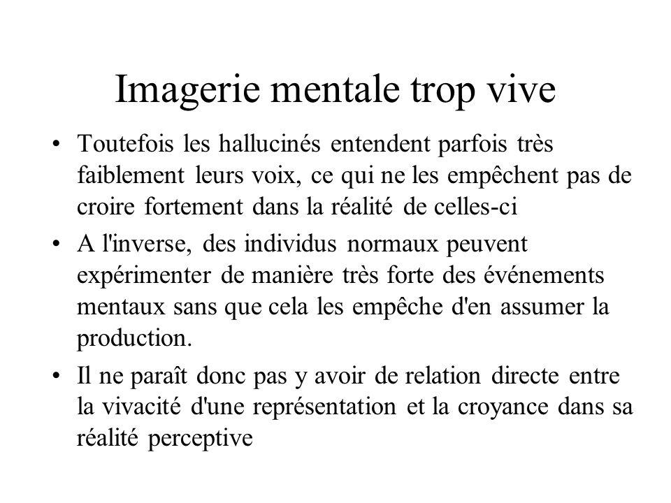 Imagerie mentale trop vive Toutefois les hallucinés entendent parfois très faiblement leurs voix, ce qui ne les empêchent pas de croire fortement dans