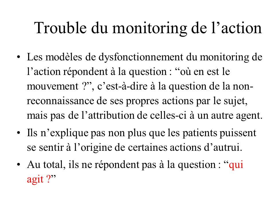 Trouble du monitoring de laction Les modèles de dysfonctionnement du monitoring de laction répondent à la question : où en est le mouvement ?, cest-à-