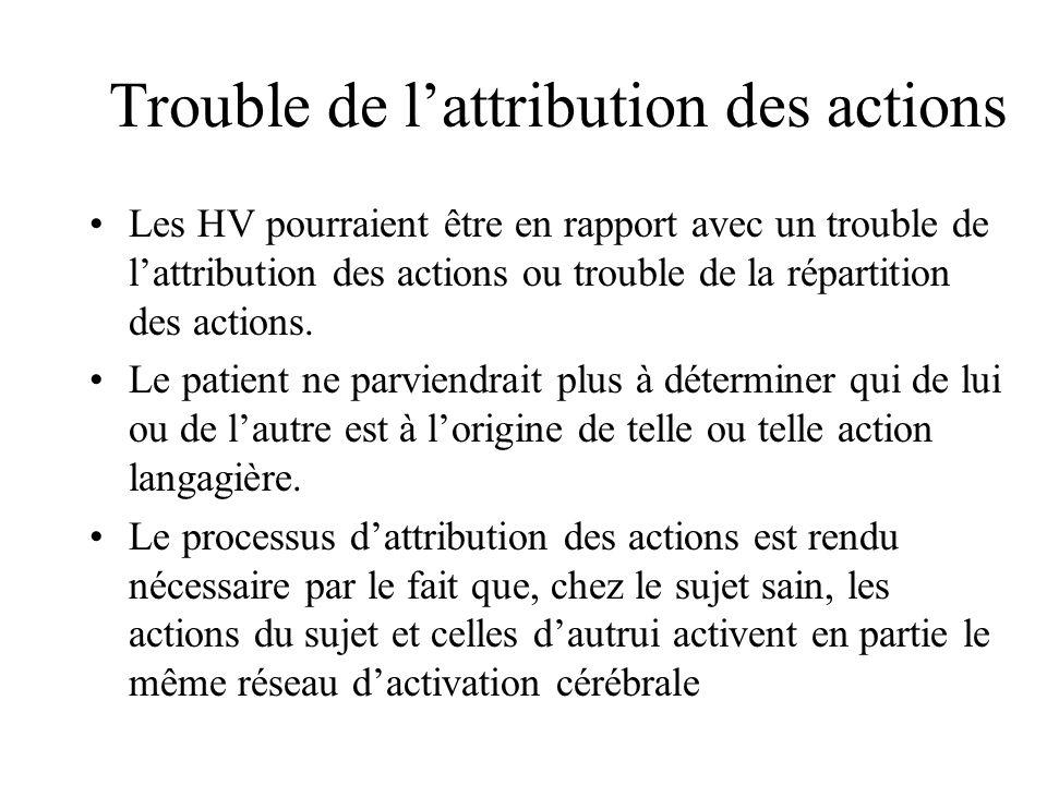 Trouble de lattribution des actions Les HV pourraient être en rapport avec un trouble de lattribution des actions ou trouble de la répartition des actions.
