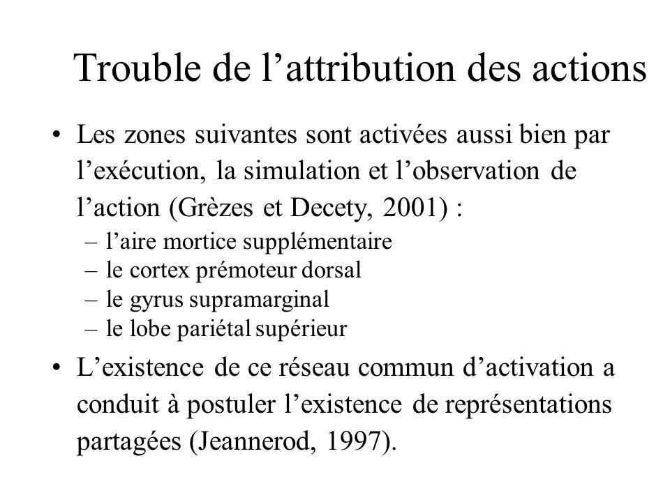 Trouble de lattribution des actions Les zones suivantes sont activées aussi bien par lexécution, la simulation et lobservation de laction (Grèzes et D