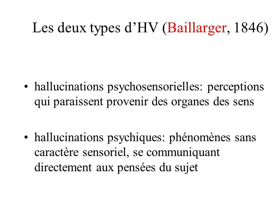 Les deux types dHV (Baillarger, 1846) hallucinations psychosensorielles: perceptions qui paraissent provenir des organes des sens hallucinations psychiques: phénomènes sans caractère sensoriel, se communiquant directement aux pensées du sujet