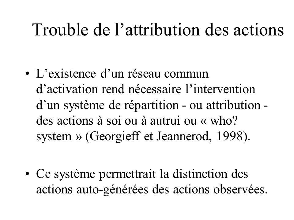 Trouble de lattribution des actions Lexistence dun réseau commun dactivation rend nécessaire lintervention dun système de répartition - ou attribution - des actions à soi ou à autrui ou « who.