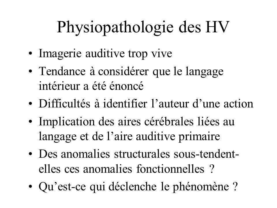Physiopathologie des HV Imagerie auditive trop vive Tendance à considérer que le langage intérieur a été énoncé Difficultés à identifier lauteur dune action Implication des aires cérébrales liées au langage et de laire auditive primaire Des anomalies structurales sous-tendent- elles ces anomalies fonctionnelles .