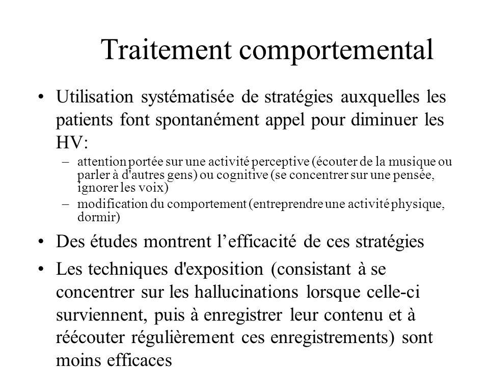 Traitement comportemental Utilisation systématisée de stratégies auxquelles les patients font spontanément appel pour diminuer les HV: –attention port