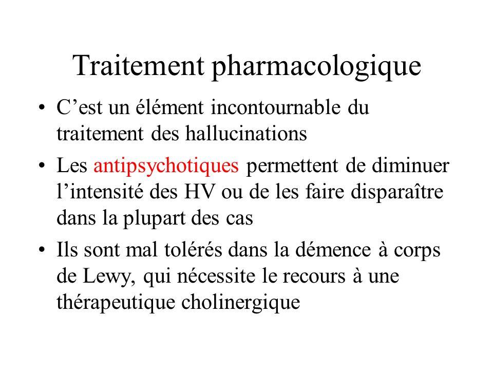 Traitement pharmacologique Cest un élément incontournable du traitement des hallucinations Les antipsychotiques permettent de diminuer lintensité des