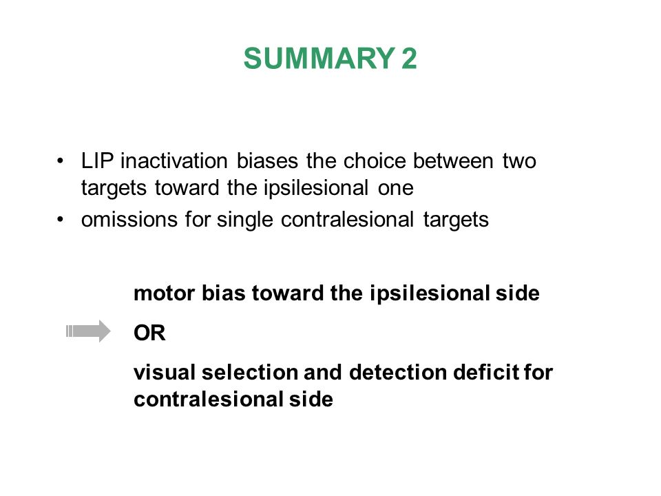 LIP inactivation biases the choice between two targets toward the ipsilesional one omissions for single contralesional targets SUMMARY 2 motor bias to
