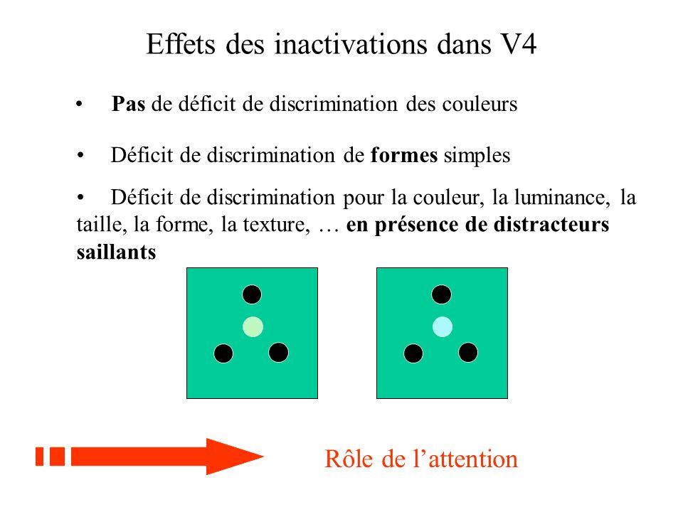 Effets des inactivations dans V4 Déficit de discrimination de formes simples Pas de déficit de discrimination des couleurs Rôle de lattention Déficit