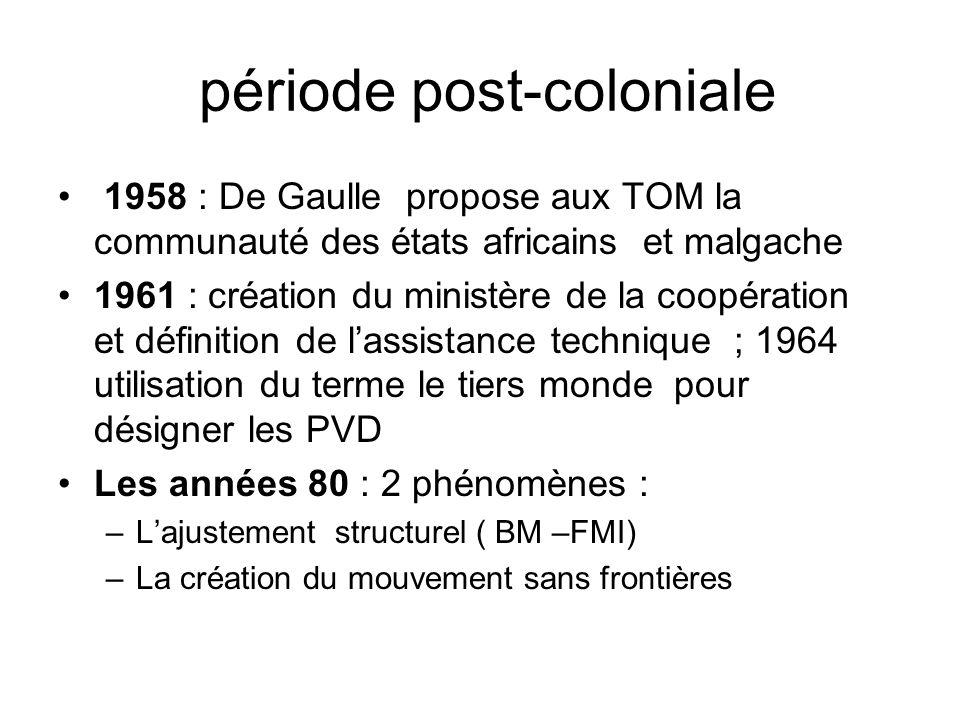 période post-coloniale 1958 : De Gaulle propose aux TOM la communauté des états africains et malgache 1961 : création du ministère de la coopération e